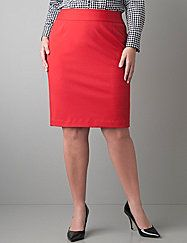 Professional and pretty pencil skirt is even better in our easy-wearing, wrinkle-resistant ponte knit. Versatile for work or weekend, this flattering style defines your curves with a wide waistband, the perfect length and back vent. Hidden zipper and hook & eye closure.  lanebryant.com
