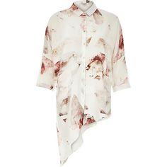 Cream abstract asymmetric shirt. #RiverIsland