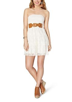 Ivory Tiered Lace Belted Dress