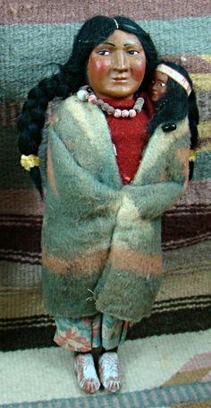 Item #749R- Vintage Bully Good Woman Skookum Doll w/Child