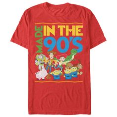 Toy Story Made in the 90s Red T-Shirt. The phrase Made in the 90s is alongside your favorite Toy Story characters Woody, Buzz Lightyear, Hamm, Rex, Slinky Dog, Jessie, and the Squeeze Toy aliens | Buy at https://www.sunfrog.com/Got-It-Made-Ladies.html?6987