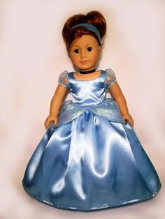 Disney Princess Cinderella outfit for American Girl Doll                                                                                                                                                                                 Plus