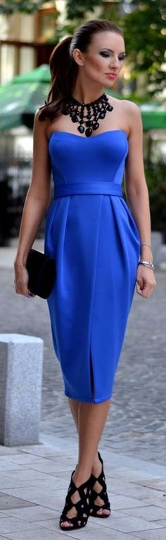 Fairytale Collection Shop Klein Blue Split Off Shoulder Pencil Midi Dress by My Silk Fairytale