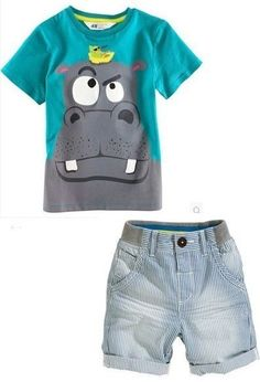 2PCS Kids Baby Boy Clothes Cute Hippo T-Shirt Top + Shorts Pants Set Outfit 2-7Y #BabyBoysClothes #DressyEverydayHoliday