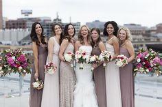 mix of sparkle and plain bridesmaids