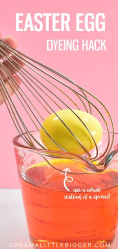 Did you know you can dye Easter eggs inside of a whisk? It's so much easier than using a spoon and no broken eggs that thunk the bottom your cup of dye. Love this Easter hack? Check out all of our DIY Easter egg tutorials! Holiday Crafts, Holiday Fun, Holiday Ideas, Fun Crafts, Diy Projects For Adults, Diy Projects To Sell, Homemade Soap Recipes, Homemade Crafts, Broken Egg