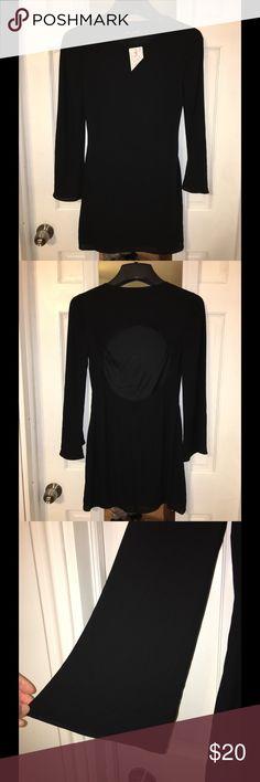 Mini Dress open back NWT black mini dress with open back. Slight bell sleeve Express Dresses Mini