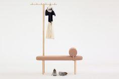 avignon designer wooden entryway bench with coat rack