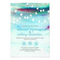 Fabulous watercolor wedding invitation featuring string of lights on a watercolour painted background. Beautiful shades and tones of turquoise blue sea water and sunset sky. Modern and trendy invitation for beach and destination wedding themes.