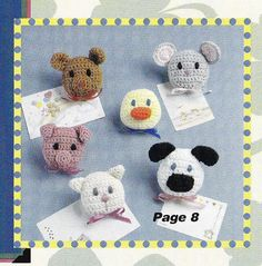 Adorable Animal Magnets Crochet Patterns - Fridgies Mouse, Pig, Bear, Duck, Cat, Lamb