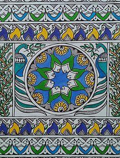 Madhubani Paintings Peacock, Madhubani Art, Indian Art Paintings, Saree Painting, Fabric Painting, Diy Painting, Basic Mehndi Designs, Indian Folk Art, Hindu Art