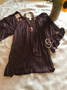 Brown bell sleeve tunic small-3XL