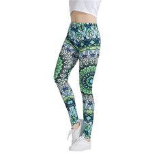 "Green Black Mandala Leggings  Size Fits XS to L:  Waist: 23-34"" (60-88cm)  Hips: 37-45"" (96-116cm)  Length: 36.2"" (92cm)"