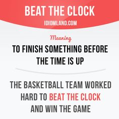 English idiom: to beat the clock #English #language #idiom