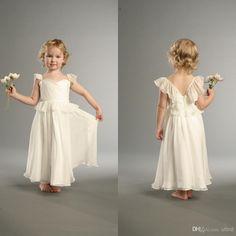 Wholesale Flower Girl Dresses - Buy Lovely Sweetheart Silk Chiffon Straps Cap Sleeves Ankle Length Flower Girl Gown Little Princess Dresses Cheap Flower Girl Dress FLG213, $43.42   DHgate