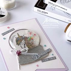 Unicorns Leave a Little Sparkle inside a Still Scenes Snow Globe by Artisan Design Team Member Mikaela Titheridge, UK Independent Stampin' Up! Demonstrator, The Crafty oINK Pen. Supplies available through my online store Globe Furniture, Plywood Furniture, Modern Furniture, Furniture Design, Stampin Up Christmas, Christmas Cards, 9 Year Old Girl Birthday, Shaker Cards, Kids Cards