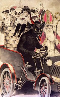 The 2004 book Devil in Design by Monte Beauchamp (previously) of BLAB! features a beautiful collection of creepy vintage Krampus Christmas postcards. The book, published by Fantagraphics Books, inc. Creepy Vintage, Vintage Halloween, Vintage Stuff, Vintage Greeting Cards, Vintage Christmas Cards, Christmas Postcards, Bad Santa, Very Scary, Illustrations
