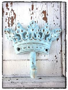 Cast Iron Crown Hook Spring Aqua Shabby Chic Iron by CamillaCotton,   A GIVEAWAY !!!!!  http://camillacotton.blogspot.com/