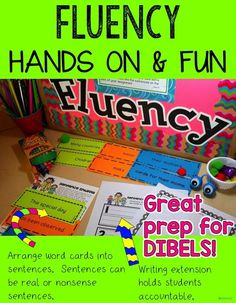 Students practice building sentences with this fluency center.  Students love making silly sentences. This is great prep for Dibels.