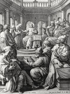 Luke in the Phillip Medhurst Collection 202 The boy Jesus is found in the Temple Luke 2:46-49 De Vos on Flickr. A print from the Phillip Medhurst Collection of Bible illustrations, published by Revd. Philip De Vere at St.George's Court,...
