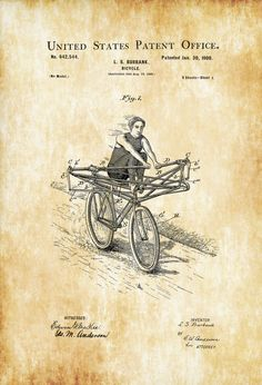 Rowing Bicycle Patent - Vintage Bicycle Bicycle Blueprint Bicycle Art Cyclist Gift  Bicycle Decor Bicycling Enthusiast Bicycle Patent by PatentsAsPrints
