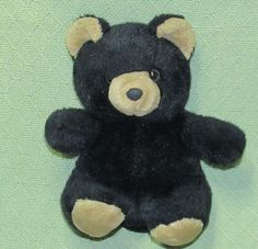 "Vintage ASI Teddy Bear Black Tan 62960 Plush Stuffed 10"" Animal Lovey Sitting #ASI"