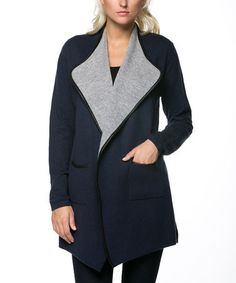 Loving this Navy & Gray Contrast Collar Cardigan on #zulily! #zulilyfinds