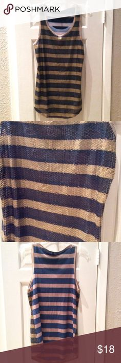 Cute Blue/Bronze Sequined Tank- UO Sequin striped long tank- navy & gold! Very gently worn & long enough to be worn as a tunic over leggings. Great layering piece! Urban Outfitters Tops Tank Tops