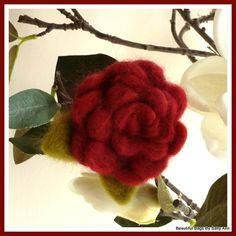 Shades of Red Merino Wool Felted Flower Corsage £10.00