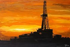 """Palette Knife Paintings: 'Sunset Rig' - the """"oil-oil painting"""""""