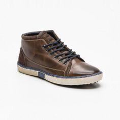 Sneakers altas, cuero marrón oscuro y azul marino caña: 8,5 cm