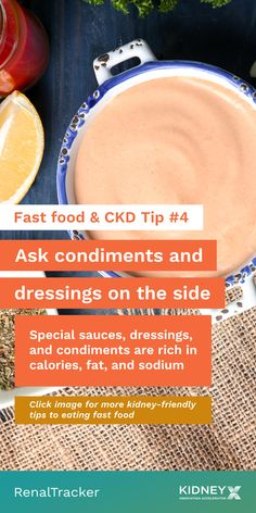 Fast food is never the recommended choice for chronic kidney disease patients but if you cannot avoid it, click the image for tips on how to make the right choices. Fast Food Salads, Fast Food Menu, Fast Healthy Meals, Healthy Kidney Diet, Healthy Kidneys, Kidney Health, Diet Tips, Diet Recipes, Renal Diet