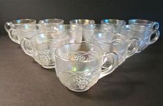 12 RARE Vintage Northwood Carnival Glass Grape Cable White Punch Bowl Cups XC | eBay Carnival Glass, Punch Bowls, Cable, Cups, Check, Vintage, Ebay, Cabo, Mugs