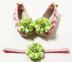 Pink & Lime Flower Chevron Crib Shoes & Headband Set