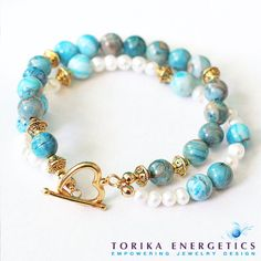 Blue Agate Multi Strand Layered Bracelet ~ Natural Semiprecious Gemstones Handmade 2014 Fashion Jewelry