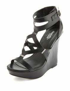 Strappy Cut-Out Platform Wedges: Charlotte Russe