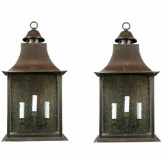Circa 1920's Oversized Lantern Sconces | From a unique collection of antique and modern lanterns at http://www.1stdibs.com/furniture/lighting/lanterns/