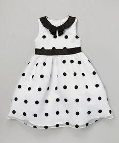 Look what I found on #zulily! White & Black Polka Dot Organza A-Line Dress - Toddler & Girls by Joe-Ella #zulilyfinds