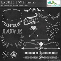 Laurel Love Chalk, laurel chalky cliparts and chalkboard digital paper - Commercial use, no credit required, instant download