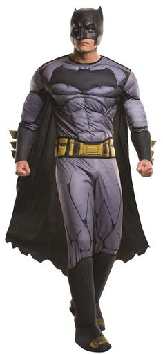 Enjoy the Halloween season as Ben Affleck's officially licensed Batman from the DC Comics film, Batman V Superman: Dawn of Justice. Includes padded jumpsuit with plush gauntlets, boot tops, cape, half mask and plush utility belt. Pick up a few Batman gadgets and accessory pieces and have a SUPER Halloween! #yyc #calgary #costume #DawnofJustice #Batman #DCComics