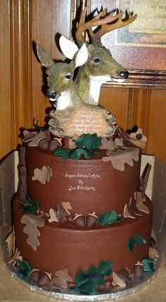 "Hunting Grooms Cake | This was our first grooms cake! 3 layer 8"" & 10"", chocolate cake with ..."