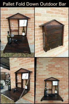 Drink your favorite beverages outdoors with this space-saving bar. Diy Storage Projects, Easy Diy Projects, Old Pallets, Recycled Pallets, Fold Away Table, Outdoor Tables, Homesteading, Outdoor Gardens, Repurposed