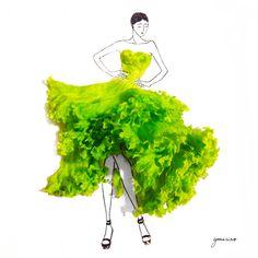 Retomando la idea de feminidad y delicadeza, la diseñadora de modas e ilustradora de Singapur, Grace Ciao, ha elaborado vestidos inspirados en las flores
