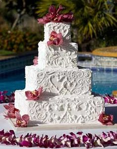 Wedding Cake - My FAVORITE one ~ Add Red Swirl Frosting and remove the flowers