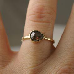 Rose cut translucent black diamond ring - stacking ring