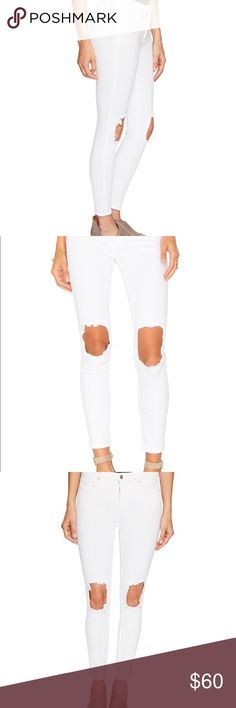 NWT Free People Busted Skinny Jean Clean and sleek style comes with worn-in style in these Free People™ jeans. Jeans boast a regular rise and a slim fit through the leg. White denim boasts large worn-in knee holes. Five-pocket design. Tonal topstitching. Silver tone hardware. Belt loop waistband. 78% cotton, 15% lyocell, 5% polyester, 2% spandex. Machine wash and tumble dry. Imported. Product measurements were taken using size 26, inseam 27. Please note that measurements may vary by size…