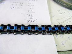 "Mens Thin Blue Line Law enforcement  Bracelet 3/4"" wide on Etsy, $39.00"