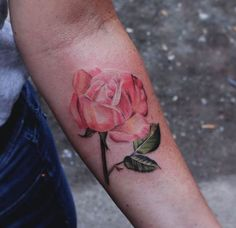 Watercolor Rose Tattoo by Karl Marks