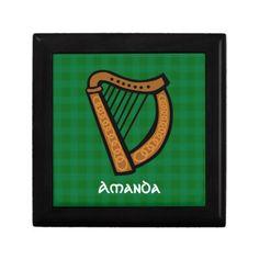 #Irish Celtic Harp #Saint Patricks Day/ Everyday #Trinket Box