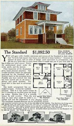 "Shirtwaist foursquare house: ""The Standard""  ALADDIN HOME PLANS FOR 1916"